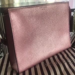 Henri Bendel metallic pink clutch bag
